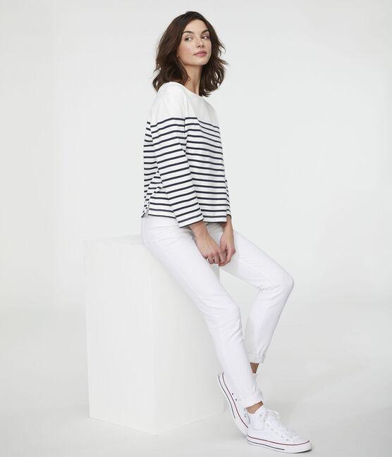 Ikonisches Streifenshirt für Damen weiss Marshmallow / blau Smoking