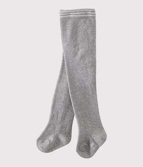 Einfarbige Babystrumpfhose aus Jersey Mädchen grau Beluga