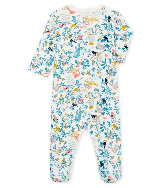 Baby-Strampler in Rippstrick für Mädchen weiss Marshmallow / weiss Multico