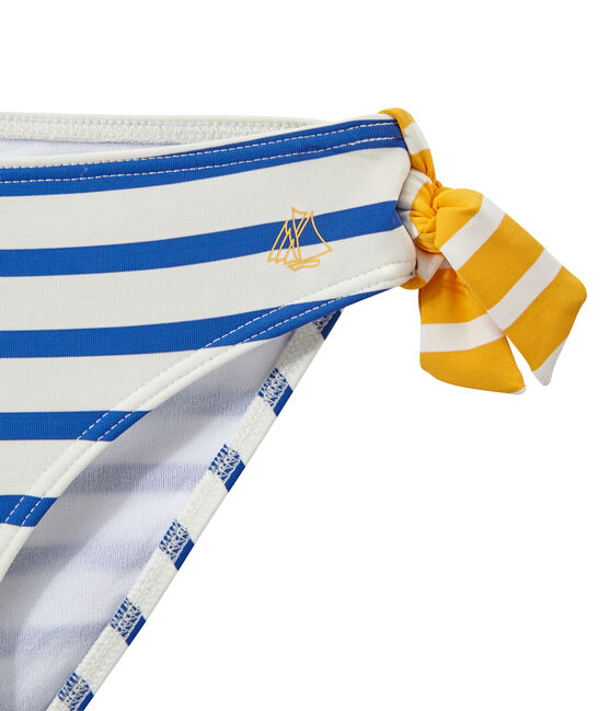 Mädchen-Bikini weiss Marshmallow / blau Perse