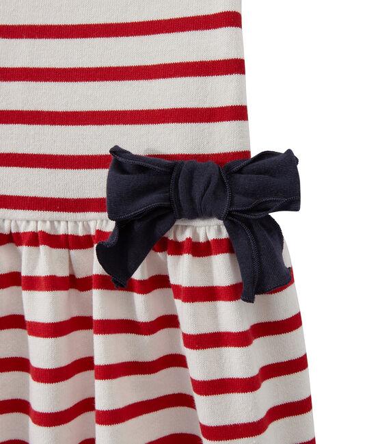 Gestreiftes Mädchen-Kleid weiss Marshmallow / rot Terkuit