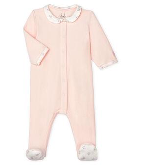 Baby-Strampler aus Samt für Mädchen rosa Fleur