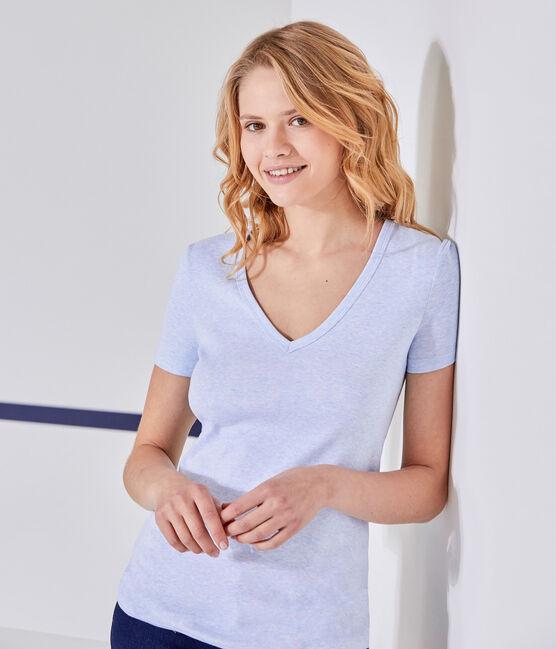 Damen-T-Shirt mit V-Ausschnitt aus Original-Rippstrick blau Cumulus Chine