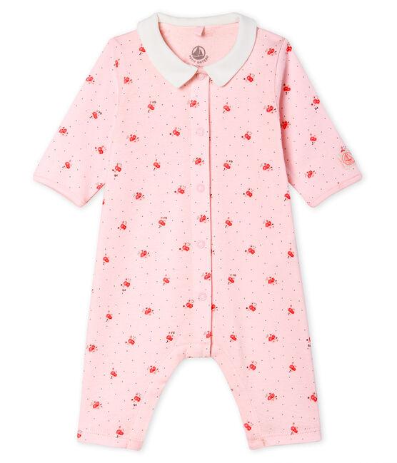 Baby-Strampler ohne Fuß aus Rippstrick rosa Vienne / weiss Multico