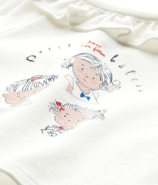 Baby-Mädchen-Kurzarmshirt weiss Marshmallow / blau Smoking
