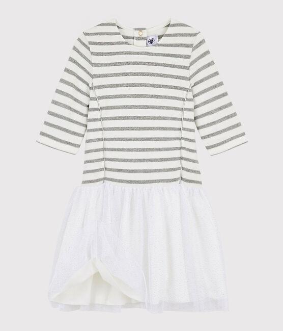 Kurzärmeliges Kinderkleid für Mädchen weiss Marshmallow / grau Argent