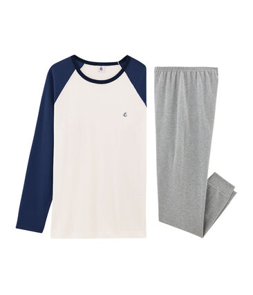 Rippstrick-Pyjama für Jungen grau Subway / weiss Multico
