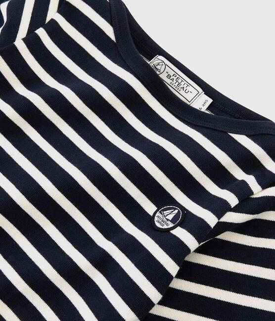 Kindershirt mit Marinestreifen für Mädchen und Jungen blau Smoking / weiss Marshmallow