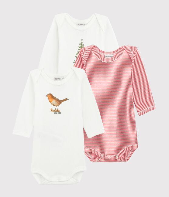 3er-Set langärmelige Baby-Bodys für Mädchen Petit Bateau x Deyrolle lot .