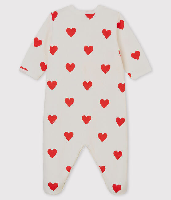 Baby-Strampler aus Molton mit roten Herzen weiss Marshmallow / rot Terkuit