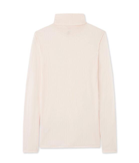 Damen-Unterziehpullover aus leichter Baumwolle rosa Fleur