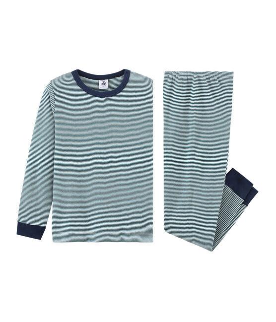 Rippstrick-Pyjama für kleine Jungen grün Pinede / weiss Marshmallow