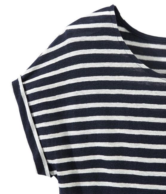 Gestreiftes Damen-T-Shirt aus Leinen blau Smoking / weiss Lait