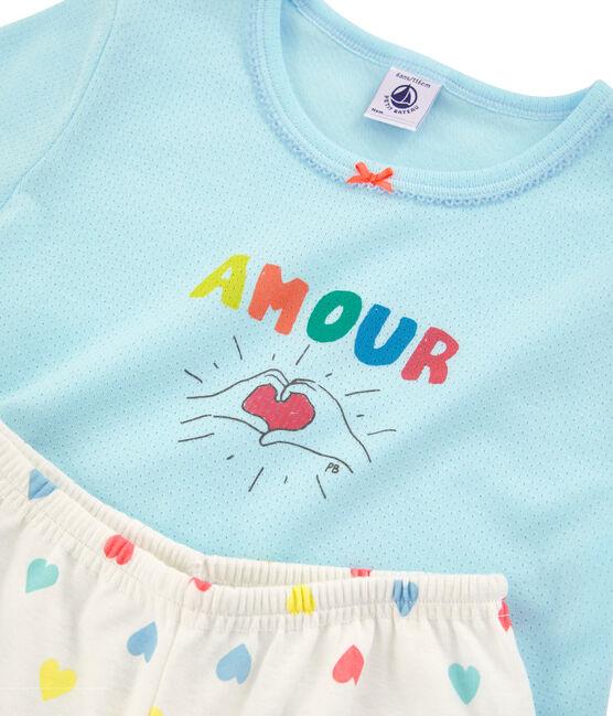 Kurz-Pyjama aus Rippstrick für kleine Mädchen blau Glacis / weiss Multico