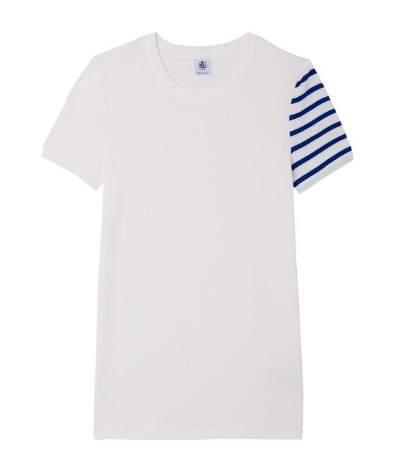 Damen-T-Shirt aus Original-Rippstrick weiss Ecume