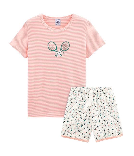 Kurzpyjama aus aufgerautem Frottee für kleine Mädchen weiss Marshmallow / weiss Multico