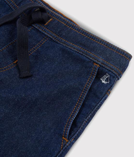 Kinderhose aus Denim-Molton für Jungen blau Denim Bleu Fonce