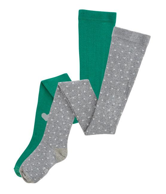 Set aus 2 Kinder-Strumpfhosen für Mädchen grau Subway / grün Ecology