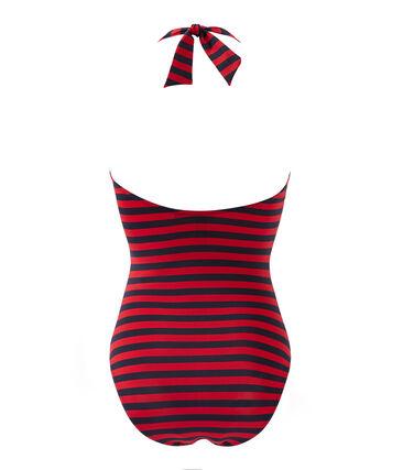Einteiliger, marine-gestreifter Damen Badeanzug
