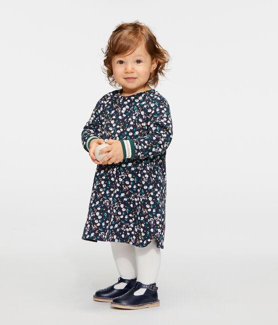 Langärmeliges gemustertes Babykleid für Mädchen blau Smoking / weiss Multico