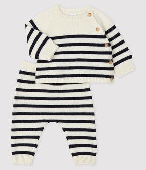 Gestreifter Baby-Zweiteiler aus Trikot weiss Marshmallow / blau Smoking
