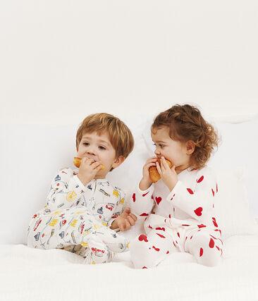 Baby-Strampler aus Rippstrick für Jungen weiss Marshmallow / weiss Multico