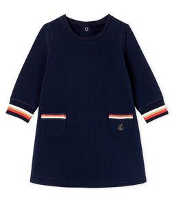 Langärmeliges Babykleid für Mädchen blau Smoking