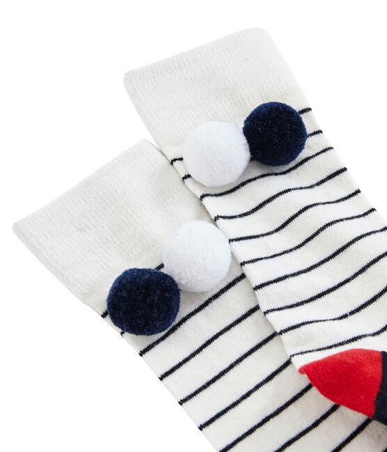 Hohe Kinderstrümpfe für Mädchen weiss Marshmallow / blau Smoking