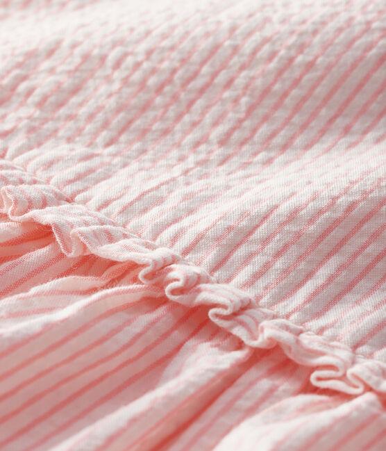 Gestreiftes kurzärmeliges Babykleid für Mädchen weiss Marshmallow / rosa Rosako