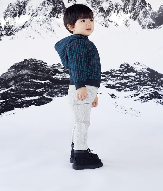Baby-Kapuzensweatshirt aus Molton für Jungen, gemustert und mit Sherpa-Futter blau Smoking / weiss Multico