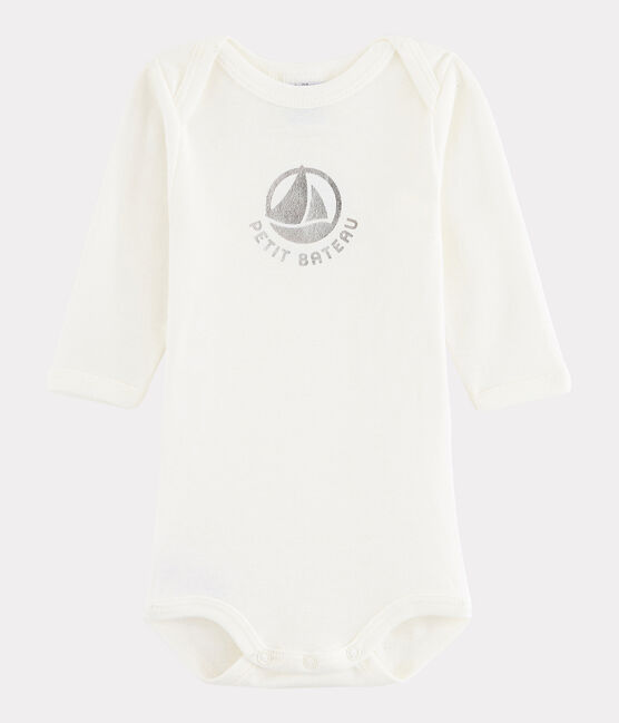 Langärmeliger Baby-Body Mädchen/Jungen weiss Marshmallow