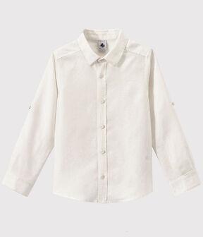 Kinder-Hemd aus Popeline für Jungen weiss Ecume