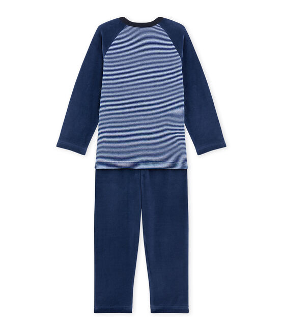 Jungen-Schlafanzug mit Wolfsmotiv blau Surf / blau Major