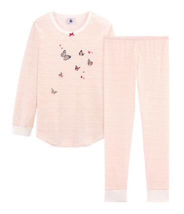 Pyjama für kleine Mädchen weiss Marshmallow / rosa Rosako