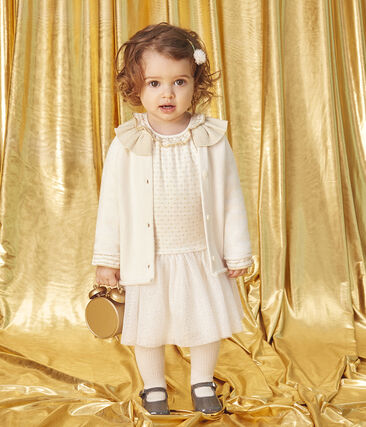 Langärmeliges Babykleid aus Materialmix für Mädchen weiss Marshmallow / gelb Or