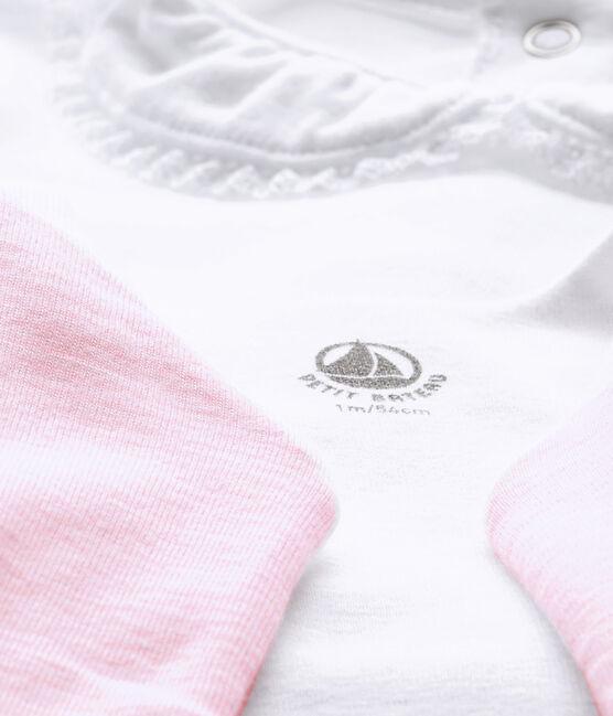 Dreiteiliges Baby-Mädchen-Ensemble weiss Ecume / rosa Vienne
