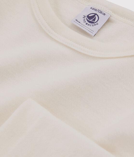 Langärmeliges einfarbiges T-Shirt aus Wolle und Baumwolle für Kinder beige Ecru