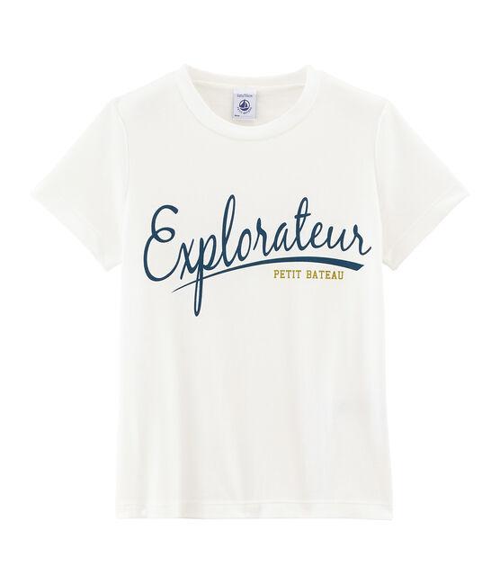 Kurzärmeliges Kinder-T-Shirt Jungen weiss Marshmallow