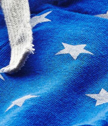 Bedruckte Baby-Jungen-Shorts blau Perse / weiss Marshmallow