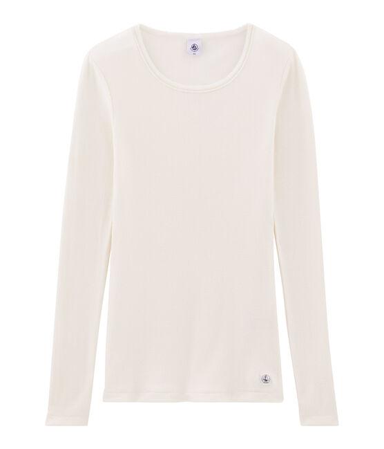 Warmes T-Shirt für Damen weiss Marshmallow