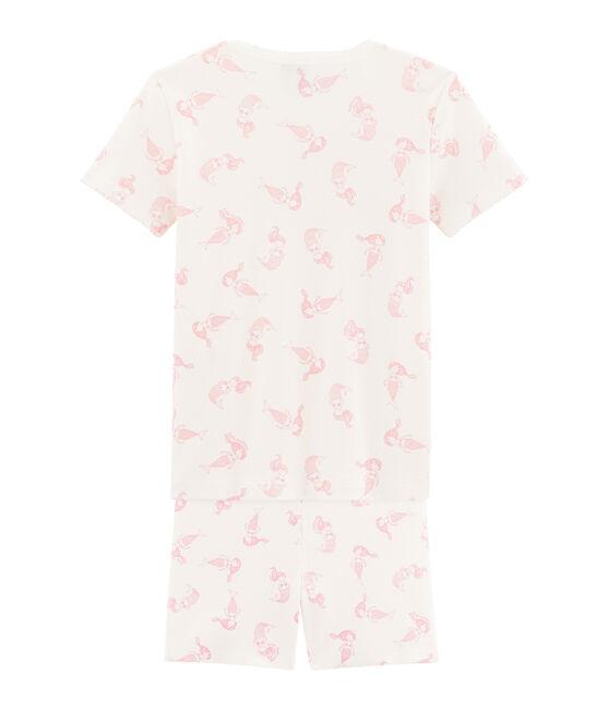 Kurzpyjama für kleine Mädchen, eng anliegender Schnitt weiss Marshmallow / rosa Rose