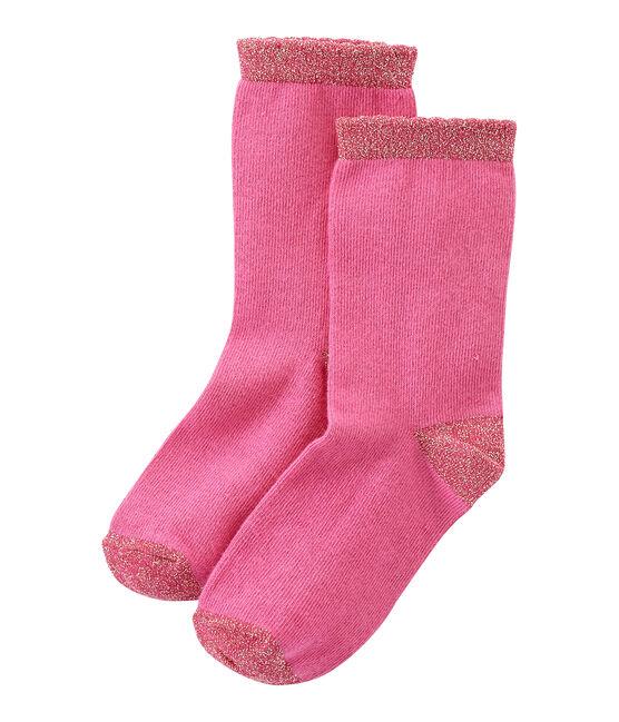 Einfarbige Mädchen-Socken rosa Petunia