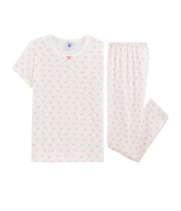 Rippstrick-Pyjama mit Blumen, für kleine Mädchen. weiss Marshmallow / rosa Gretel