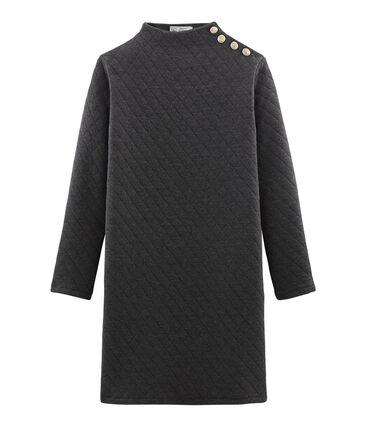 Langärmliges Kleid aus Doppeljersey für Damen grau City Chine