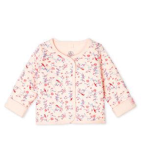 Baby-Cardigan aus gestepptem Doppeljersey rosa Fleur / weiss Multico