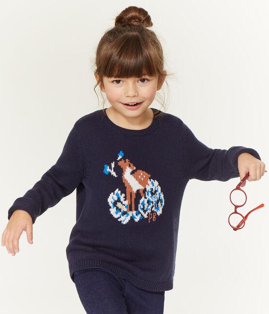 Kinder-Pullover Mädchen blau Smoking / weiss Multico
