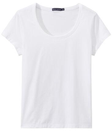 """Damen-T-Shirt """"COL DANSEUSE"""" aus feinem Jersey weiss Ecume"""