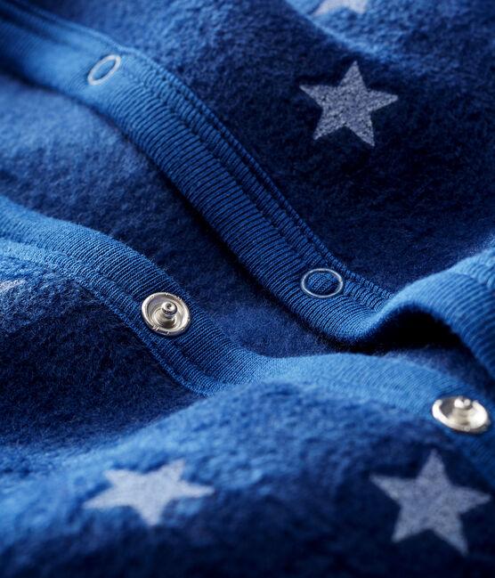 Baby-Pyjama zum Überziehen aus Fleece für Jungen blau Medieval / weiss Marshmallow