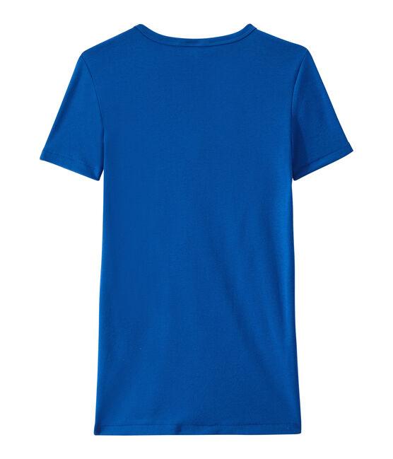 Damen-T-Shirt mit V-Ausschnitt aus Original-Rippstrick blau Perse