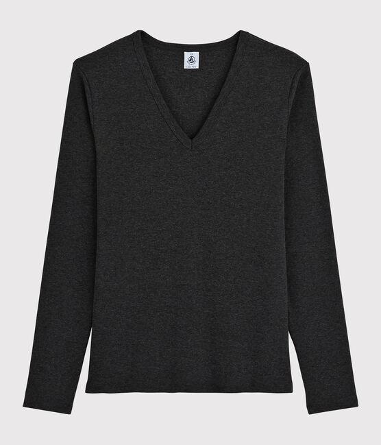 Damen-T-Shirt mit V-Ausschnitt grau City Chine